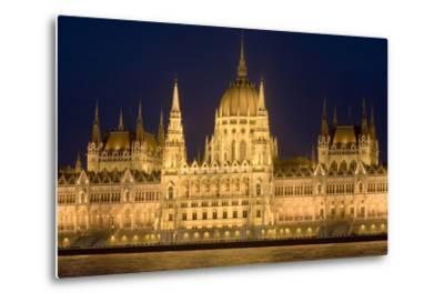Main Part of Hungarian Parliament on Warm Summer Night, Budapest, Hungary, Europe-Julian Pottage-Metal Print