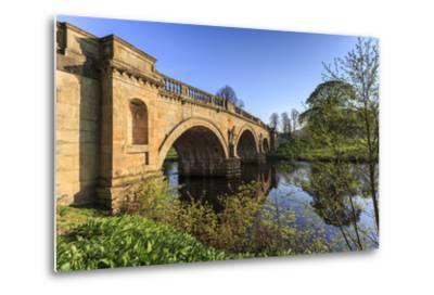 Sandstone Bridge by Paine over River Derwent on a Spring Morning, Chatsworth Estate-Eleanor Scriven-Metal Print