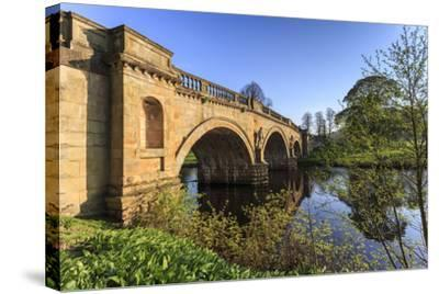 Sandstone Bridge by Paine over River Derwent on a Spring Morning, Chatsworth Estate-Eleanor Scriven-Stretched Canvas Print