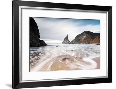 Ocean Waves Crashing on the Sandy Beach of Praia Da Ursa Surrounded by Cliffs, Cabo Da Roca-Roberto Moiola-Framed Photographic Print