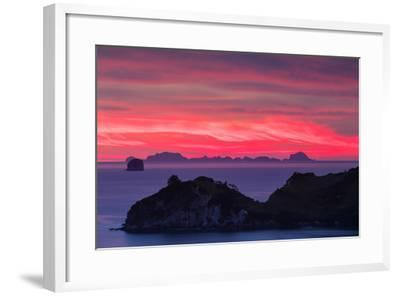 The Sky Appears on Fire as Dawn Light Seeps Through Clouds Beyond Alderman Island-Garry Ridsdale-Framed Photographic Print