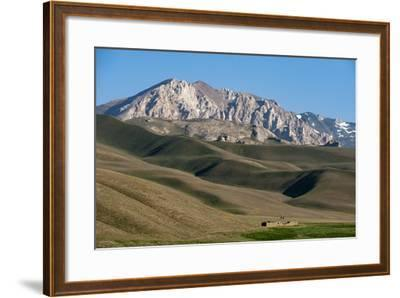 A Distant House in the Grasslands with Views of Mountains in the Distance, Bamiyan Province-Alex Treadway-Framed Photographic Print