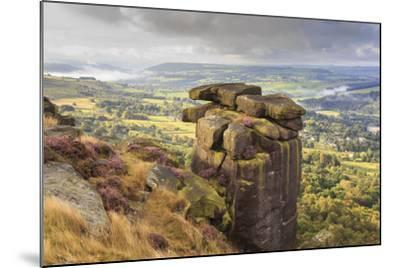 Curbar Edge, Summer Heather, View Towards Chatsworth, Peak District National Park, Derbyshire-Eleanor Scriven-Mounted Photographic Print
