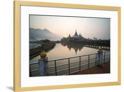 Kyauk Kalap Buddhist Temple in the Middle of a Lake at Sunrise, Hpa An, Kayin State (Karen State)-Matthew Williams-Ellis-Framed Photographic Print