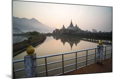 Kyauk Kalap Buddhist Temple in the Middle of a Lake at Sunrise, Hpa An, Kayin State (Karen State)-Matthew Williams-Ellis-Mounted Photographic Print