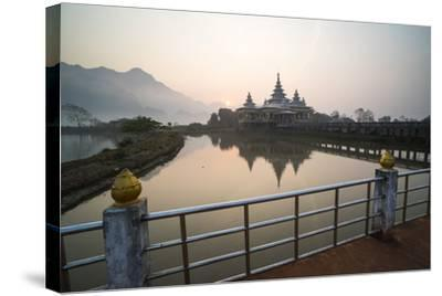 Kyauk Kalap Buddhist Temple in the Middle of a Lake at Sunrise, Hpa An, Kayin State (Karen State)-Matthew Williams-Ellis-Stretched Canvas Print