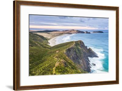 Te Werahi Beach at Sunrise, with Te Paki Coastal Track Path Visible, Cape Reinga-Matthew Williams-Ellis-Framed Photographic Print