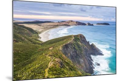 Te Werahi Beach at Sunrise, with Te Paki Coastal Track Path Visible, Cape Reinga-Matthew Williams-Ellis-Mounted Photographic Print