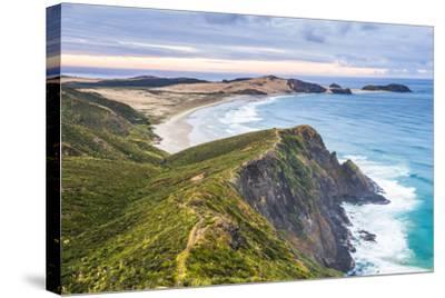 Te Werahi Beach at Sunrise, with Te Paki Coastal Track Path Visible, Cape Reinga-Matthew Williams-Ellis-Stretched Canvas Print