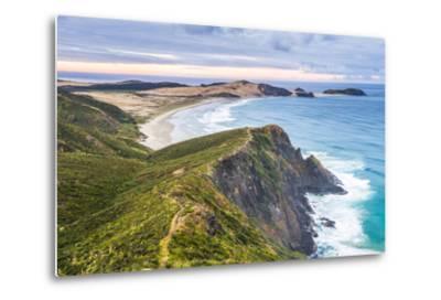 Te Werahi Beach at Sunrise, with Te Paki Coastal Track Path Visible, Cape Reinga-Matthew Williams-Ellis-Metal Print