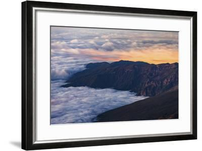 Clouds Obscure Coastal Villages Below Dark Volcanic Mountains of Tenerife's North East Coast-Garry Ridsdale-Framed Photographic Print