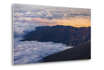Clouds Obscure Coastal Villages Below Dark Volcanic Mountains of Tenerife's North East Coast-Garry Ridsdale-Metal Print
