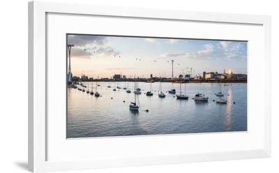River Thames at Sunset and the Emirates Air Line Cable Car, East London, England-Matthew Williams-Ellis-Framed Photographic Print
