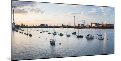 River Thames at Sunset and the Emirates Air Line Cable Car, East London, England-Matthew Williams-Ellis-Mounted Photographic Print