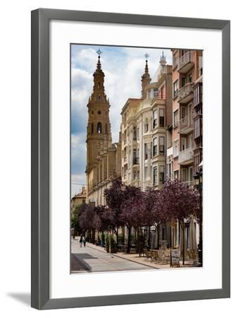 Calle Portales with Santa Maria De La Redonda Cathedral in Logrono, La Rioja, Spain, Europe-Martin Child-Framed Photographic Print
