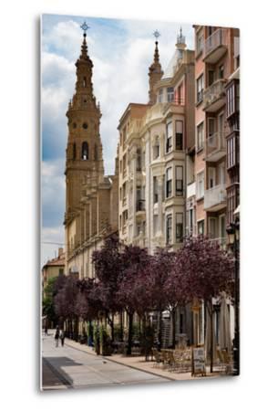 Calle Portales with Santa Maria De La Redonda Cathedral in Logrono, La Rioja, Spain, Europe-Martin Child-Metal Print