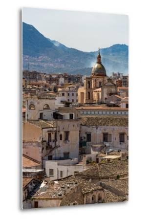 View of the Rooftops of Palermo with the Hills Beyond, Sicily, Italy, Europe-Martin Child-Metal Print