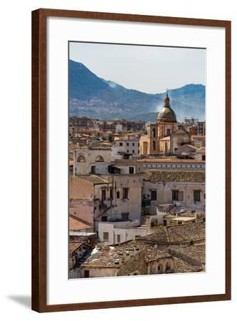 View of the Rooftops of Palermo with the Hills Beyond, Sicily, Italy, Europe-Martin Child-Framed Photographic Print