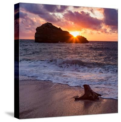 Sunset over Roche Ronde Rock Off the Coast of Biarritz, Pyrenees Atlantiques, Aquitaine-Martin Child-Stretched Canvas Print