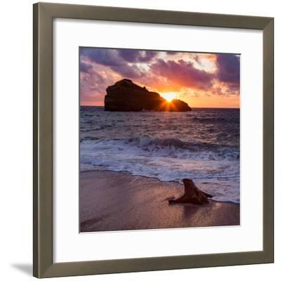 Sunset over Roche Ronde Rock Off the Coast of Biarritz, Pyrenees Atlantiques, Aquitaine-Martin Child-Framed Photographic Print