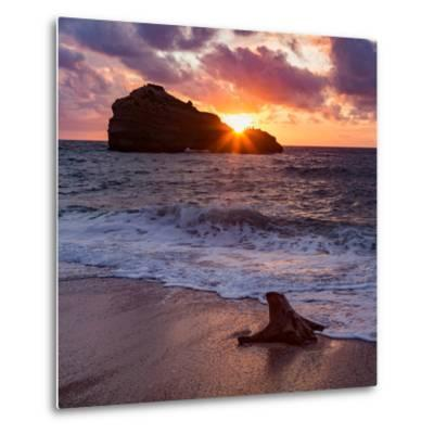 Sunset over Roche Ronde Rock Off the Coast of Biarritz, Pyrenees Atlantiques, Aquitaine-Martin Child-Metal Print
