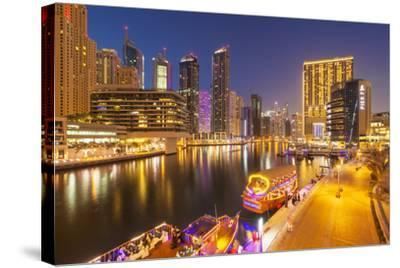 Dubai Marina Skyline and Tourist Boats at Night, Dubai City, United Arab Emirates, Middle East-Neale Clark-Stretched Canvas Print