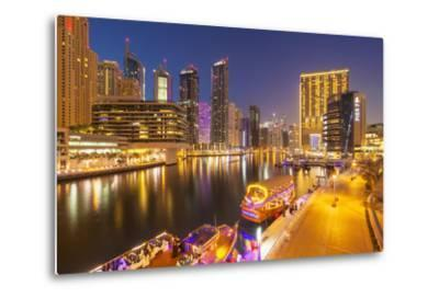 Dubai Marina Skyline and Tourist Boats at Night, Dubai City, United Arab Emirates, Middle East-Neale Clark-Metal Print