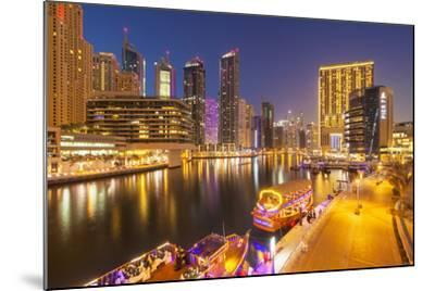 Dubai Marina Skyline and Tourist Boats at Night, Dubai City, United Arab Emirates, Middle East-Neale Clark-Mounted Photographic Print