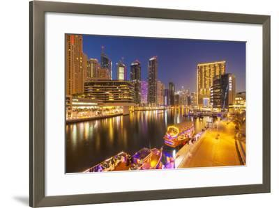 Dubai Marina Skyline and Tourist Boats at Night, Dubai City, United Arab Emirates, Middle East-Neale Clark-Framed Photographic Print