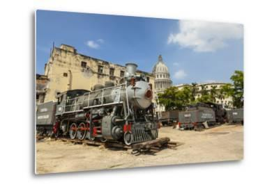 A Vintage Steam Train in a Restoration Yard with Dome of Former Parliament Building in Background-Sean Cooper-Metal Print