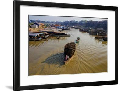 Fishing Boats on their Way Back, Kompong Kleang Village, Siem Reap Province, Cambodia, Indochina-Nathalie Cuvelier-Framed Photographic Print