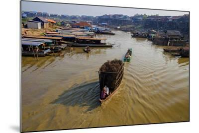 Fishing Boats on their Way Back, Kompong Kleang Village, Siem Reap Province, Cambodia, Indochina-Nathalie Cuvelier-Mounted Photographic Print