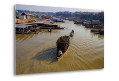 Fishing Boats on their Way Back, Kompong Kleang Village, Siem Reap Province, Cambodia, Indochina-Nathalie Cuvelier-Metal Print