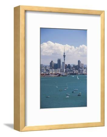 Auckland City Skyline and Auckland Harbour Seen from Devenport, North Island, New Zealand, Pacific-Matthew Williams-Ellis-Framed Photographic Print