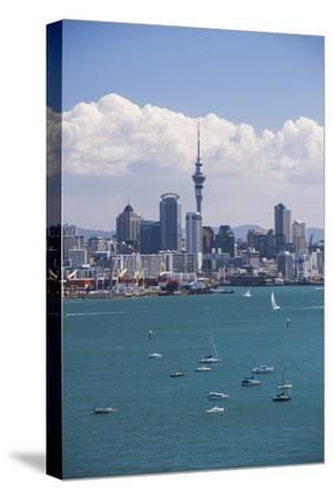 Auckland City Skyline and Auckland Harbour Seen from Devenport, North Island, New Zealand, Pacific-Matthew Williams-Ellis-Stretched Canvas Print