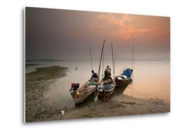 Fisherman Prepare to Set Out, Irrawaddy River, Myanmar (Burma), Asia-Colin Brynn-Metal Print