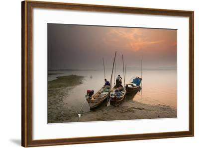 Fisherman Prepare to Set Out, Irrawaddy River, Myanmar (Burma), Asia-Colin Brynn-Framed Photographic Print