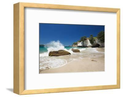 Waves Splashing Against Large Rocks on the Beach in Cathedral Cove, Coromandel, Waikato-Garry Ridsdale-Framed Photographic Print