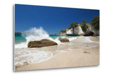 Waves Splashing Against Large Rocks on the Beach in Cathedral Cove, Coromandel, Waikato-Garry Ridsdale-Metal Print