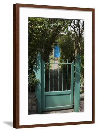 Front Gates with a Path Leading to a Blue Door, of a Residential House-Natalie Tepper-Framed Photo