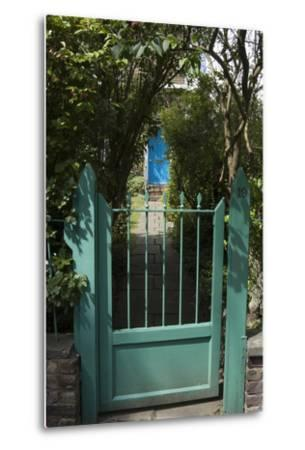 Front Gates with a Path Leading to a Blue Door, of a Residential House-Natalie Tepper-Metal Print
