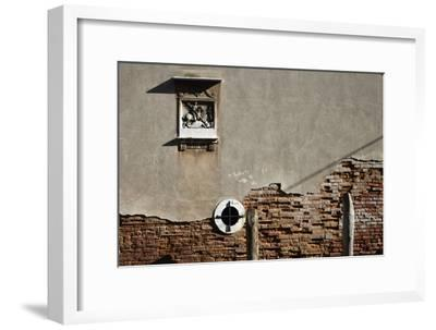 Canal Side Wall in Venice, Italy with Relief of George and the Dragon-Richard Bryant-Framed Photo