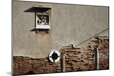 Canal Side Wall in Venice, Italy with Relief of George and the Dragon-Richard Bryant-Mounted Photo