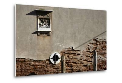 Canal Side Wall in Venice, Italy with Relief of George and the Dragon-Richard Bryant-Metal Print