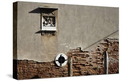 Canal Side Wall in Venice, Italy with Relief of George and the Dragon-Richard Bryant-Stretched Canvas Print