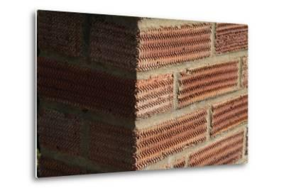 Close Up of a Surface Patterned Brick Wall-Natalie Tepper-Metal Print