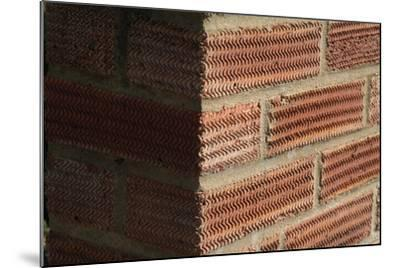 Close Up of a Surface Patterned Brick Wall-Natalie Tepper-Mounted Photo