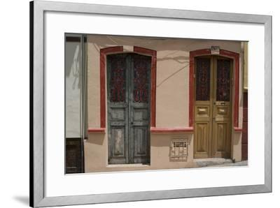 Painted Doorways in La Candelaria (Old Section of the City), Bogota, Colombia-Natalie Tepper-Framed Photo