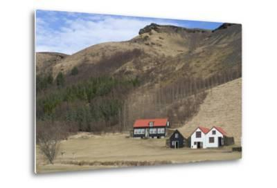 Traditional Turf Half Underground Houses and Old School from the Last Century Near Skogafoss-Natalie Tepper-Metal Print