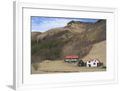 Traditional Turf Half Underground Houses and Old School from the Last Century Near Skogafoss-Natalie Tepper-Framed Photo